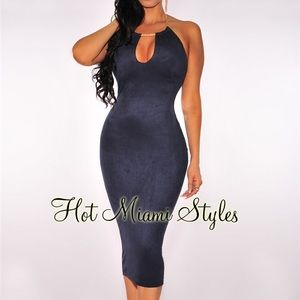 Hot Miami styles Faux suede dress